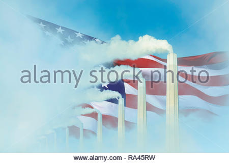 Global warming Climate change US flag smoke greenhouse gas chimney. - Stock Image