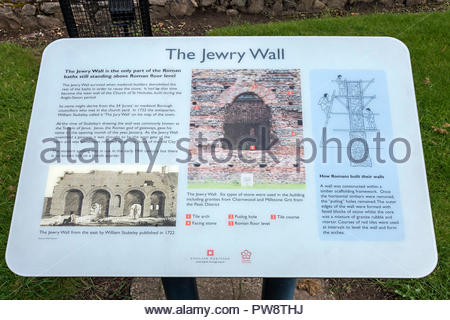 Information sign at ruins of Roman Baths, Jewry Wall Museum, Leicester, England, UK - Stock Image
