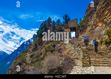 Two Person Backpack Trail Mountains Way.Mountain Trekking Rocks Path Landscape View Background.Hikking Travel Activity.Horizonta - Stock Image