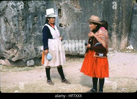 Peruvian women in typical outfit; Cuzco, Peru. - Stock Image