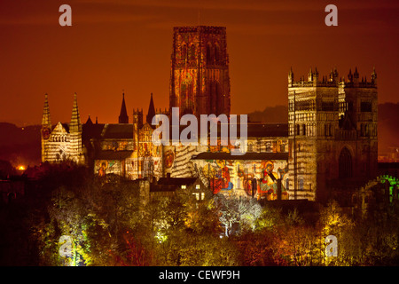 The 'Crown of Light' light show on Durham Cathedral in Durham,the ever changing images on the cathedral - Stock Image