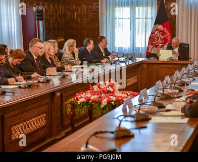 U.S. Secretary of State Michael R. Pompeo meets with Afghanistan President Ashraf Ghani and Chief Executive Abdullah Abdullah in Kabul, Afghanistan on July 9, 2018. - Stock Image