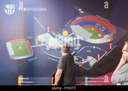Camp Nou stadium complex map outside the stadium - Stock Image