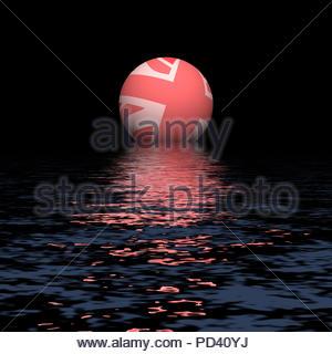 Digital Illustration - Pink Union Jack flag globe rising over water. - Stock Image