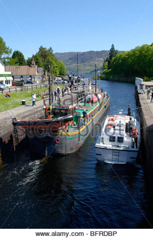 Lock and Road Swing-bridge at Fort Augustus between Loch Ness and Loch Oich Scotland - Stock Image