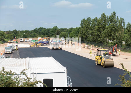 Making compound for roadworks by A14 - Stock Image