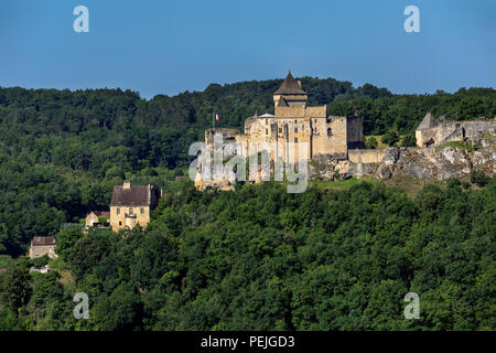 Chateau de Castelnaud in the Dordogne area of the Nouvelle-Aquitaine region of France. - Stock Image