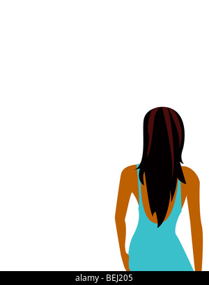 Back view of woman, illustration - Stock Image