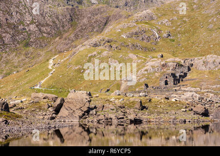 Hikers on the Miners Path at Llyn Llydaw, Snowdonia, North Wales - Stock Image