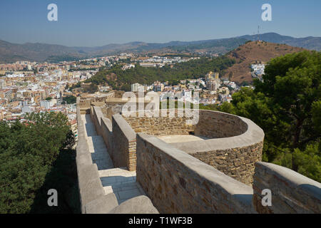 View of the north of Málaga from Castillo Gibralfaro. Andalusia, Spain. - Stock Image