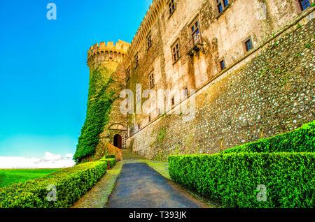 entry castle Bracciano vine plants - Bracciano castle is famous italy destination landmark near Rome in Lazio - Stock Image