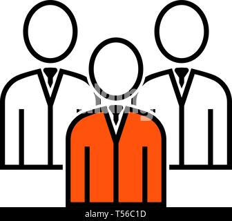 Corporate Team Icon. Thin Line With Orange Fill Design. Vector Illustration. - Stock Image