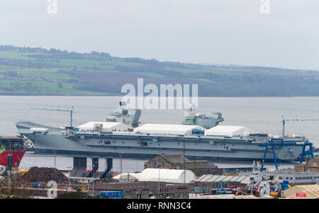 19 Feb, 2019. Royal Navy HMS Prince of Wales aircraft Carrier under construction at Babcock Marine shipyard at Rosyth Dockyard in Fife, Scotland, UK - Stock Image