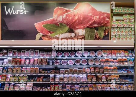 Meat, food, supermarket retail sausage Supermarket, Kuehlregal, Aufschnitt, Wurst, Lebensmittel, Supermarkt, Berlin, - Stock Image
