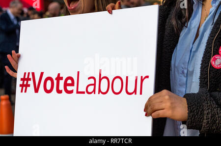 British Labour Party Banners and slogans. - Stock Image