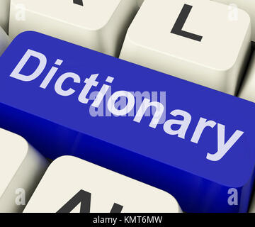 Dictionary Key Showing Online Or Web Definition Reference - Stock Image