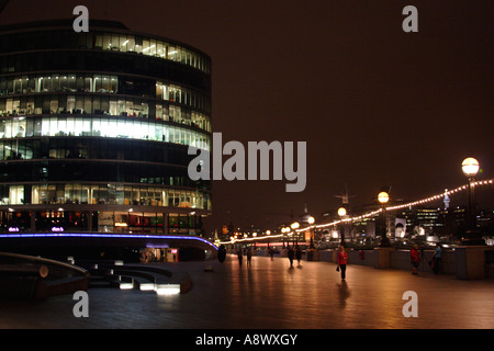 Office Building near The Scoop at night South Bank London - Stock Image