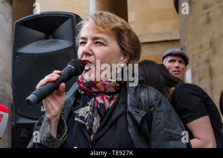 London, UK. 11th May 2019. CND Chair Kate Hudson speaks before thousands march from the BBC to a rally in Whitehall a few days before Nakba day showing solidarity with the Palestinian people and opposing continued Israel violation of international law and human rights. The protest called for an end to Israeli oppression and the siege of Gaza and for a just peace that recognises Palestinian rights including the right of return. It urged everyone to boycott and divest from Israel and donate to medical aid for Palestine. Peter Marshall/Alamy Live News Credit: Peter Marshall/Alamy Live News - Stock Image