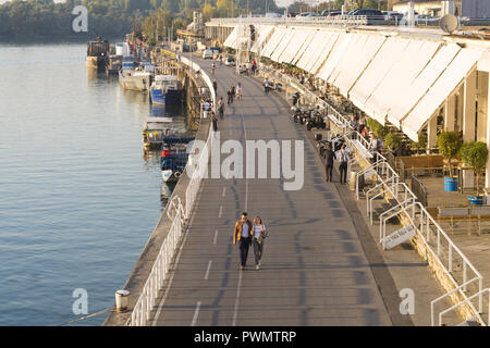 Beton Hala in Belgrade and the Sava River waterfront. Serbia. - Stock Image