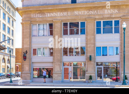 JOHNSON CITY, TN, USA-4/27/19: Exterior front of The Tennessee National Bank building in Johnson City. - Stock Image