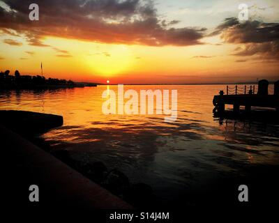 Sunset at Harbour - Stock Image