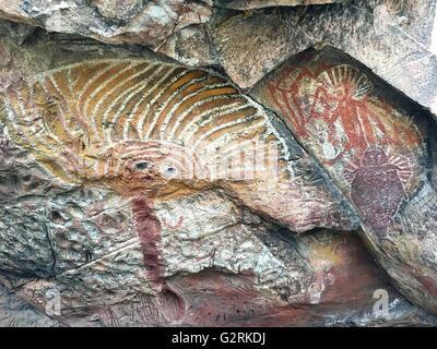 Wardaman cave paintings known as 'rock art' near Judbarra /Gregory National Park, Northern Territory, Australia - Stock Image