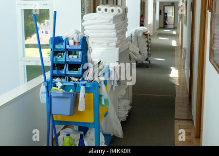 Hotel cleaning equipment in a Spanish hotel. - Stock Image