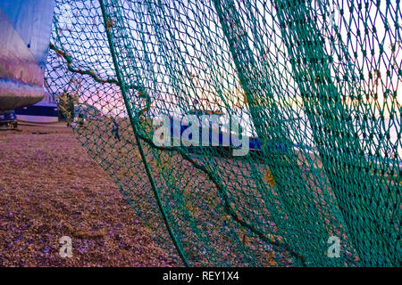 Hastings Stade fishing boat landing at dawn, East Sussex. UK - Stock Image