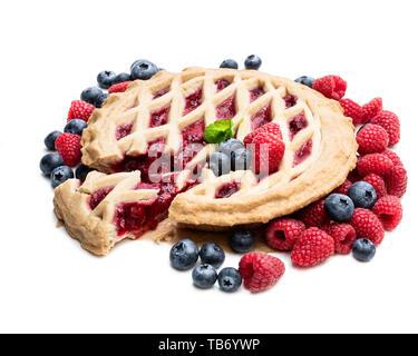 Homemade  whole forest fruit tart isolated on white - Stock Image