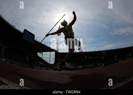 Ostrava, Czech Republic. 20th June, 2019. Martina Ratej of Slovenia competes in javelin throw during the Ostrava Golden Spike, an IAAF World Challenge athletic meeting, in Ostrava, Czech Republic, on June 20, 2019. Credit: Petr Sznapka/CTK Photo/Alamy Live News - Stock Image