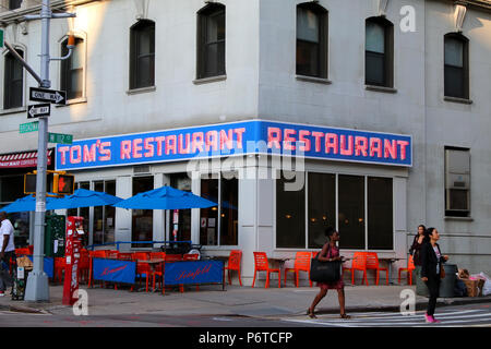 NEW YORK, NY - JUNE 15: Tom's Restaurant, which exterior was routinely used in Seinfeld episodes. Manhattan on JUNE 15th, 2017 in New York, USA. (Phot - Stock Image