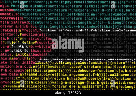 Mozambique flag  is depicted on the screen with the program code. The concept of modern technology and site development. - Stock Image