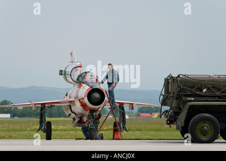 Croatian Air Force MiG-21 UMD two seat trainer in special color scheme, Pleso AFB during 'open day' photo - Stock Image