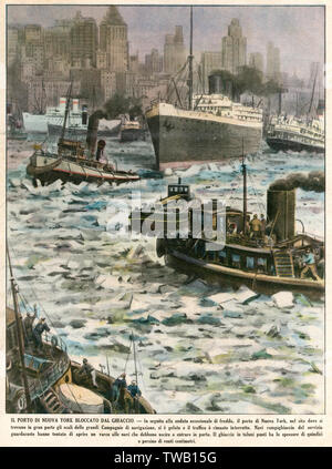 New York: the harbour blocked by ice      Date: January 1940 - Stock Image