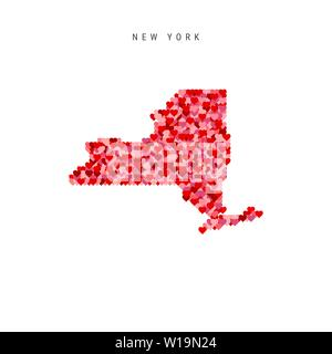 I Love New York. Red and Pink Hearts Pattern Vector Map of New York Isolated on White Background. - Stock Image