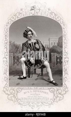 Act II, Scene III Mr. E. L. Davenport in the role of Benedick, soliloquizing. - Stock Image