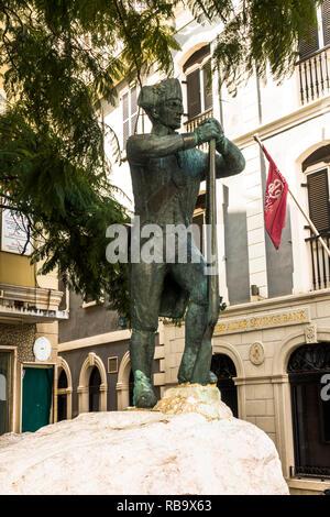 Gibraltar, Statue, Corps of Royal Engineers, rock of Gibraltar. Iberian Peninsula. - Stock Image