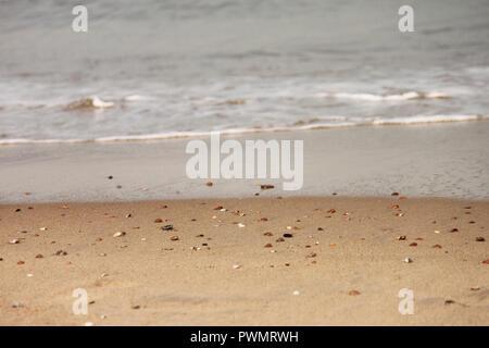 Pebbles on a sandy beach - Stock Image