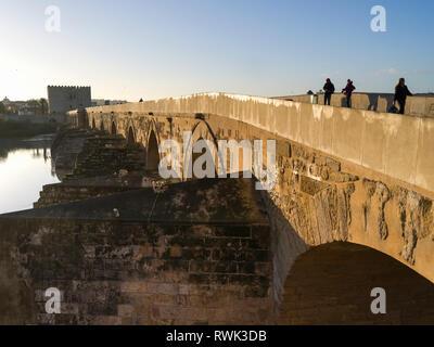 Roman bridge over the Guadalquivir River; Cordoba, Province of Cordoba, Spain - Stock Image