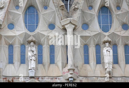 Exterior Stone Architectural Detail Of The Basilica of the Sagrada Família In Barcelona Spain - Stock Image