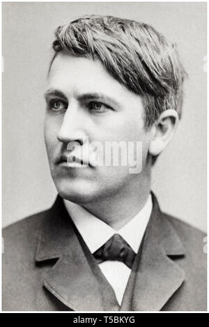 Thomas Alva Edison (1847-1931) portrait, 1878, author unknown - Stock Image