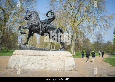 The lifesize bronze 'Physical Energy' sculpture in Hyde Park, London by George Frederick Watts - Stock Image