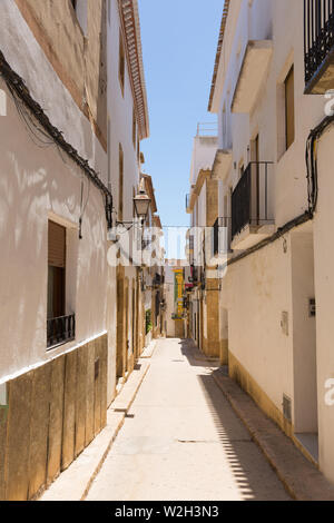 Xabia Spain view of a narrow street in the historic old town - Stock Image