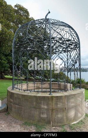Barbed wire metal sculpture in the Royal Botanical Gardens Sydney Australia - Stock Image