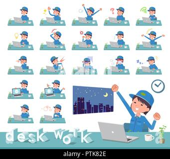 A set of delivery women on desk work.There are various actions such as feelings and fatigue.It's vector art so it's easy to edit. - Stock Image