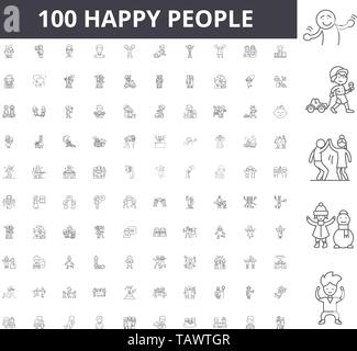 Happy people line icons, signs, vector set, outline illustration concept  - Stock Image