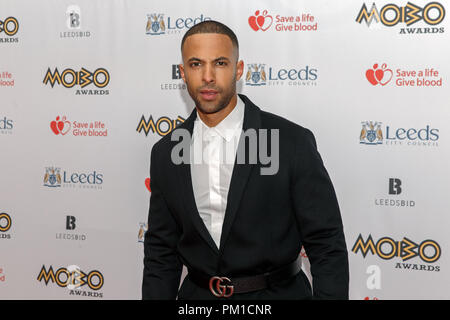 Marvin Humes on the red carpet at the 2017 MOBO Awards. Marvin Humes is a singer, formerly of pop group JLS, and DJ, television presenter and radio host. Humes co-hosted the MOBOs event. - Stock Image