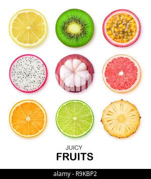Isolated fruits slices. Pieces of lemon, kiwi, passion fruit, dragon fruit, mangosteen, grapefruit, orange, lime and pineapple isolated on white backg - Stock Image