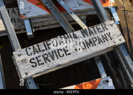 California Water Service Company, black letters on white wooden board - Stock Image