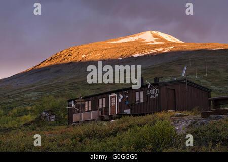 STF Kaitumjaure mountain hut, Kungsleden Trail, Lapland, Sweden - Stock Image